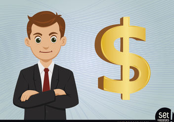 Young Businessman with Dollar Sign - Free vector #180243