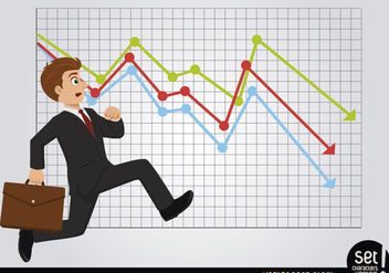 Late Running Businessman with Losses Chart - Free vector #180253