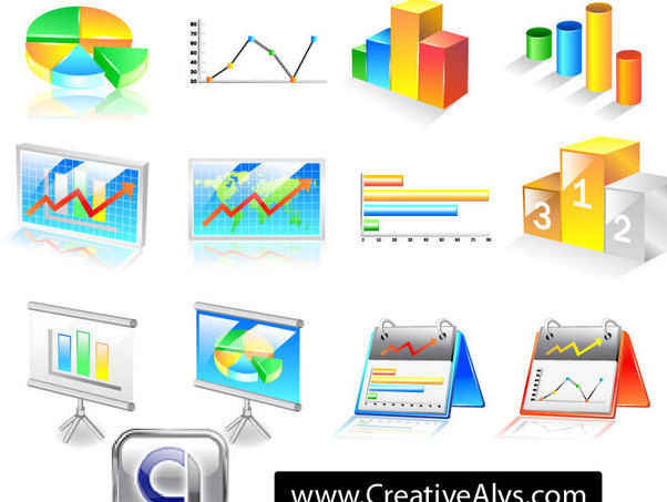 3D Business Chart Icon Pack - vector gratuit #180283