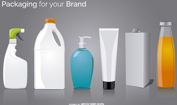 6 packaging bottle mock ups - Free vector #180343