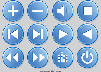 Media Player Button Circles Pack - vector gratuit #180353