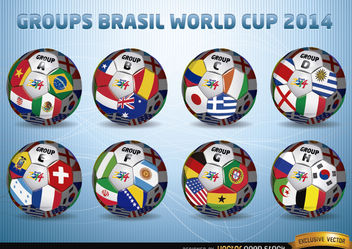 Footballs with Brasil 2014 World Cup Groups - Free vector #180523
