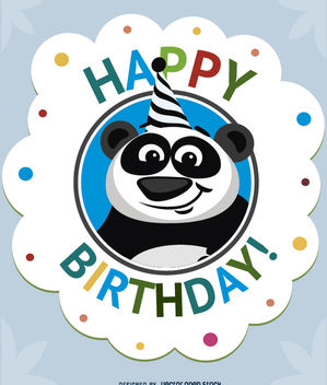 Birthday cartoon panda card - vector gratuit #180703