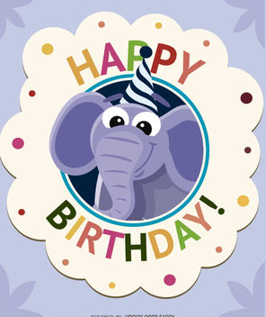 Birthday cartoon elephant card - бесплатный vector #180713