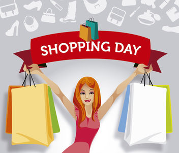 Girl shopping ribbon promo - Free vector #180723
