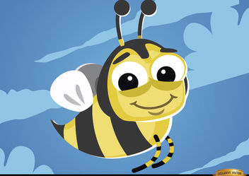 Cartoon Bee flying bug - Free vector #180783