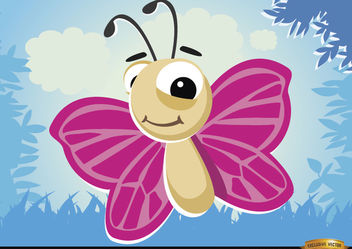 Cartoon Butterfly flying bug in forest - vector gratuit #180793
