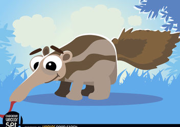 Ant-eater on grass cartoon animal - бесплатный vector #180813
