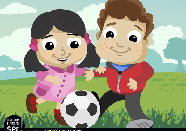 Kids playing with soccer ball - Free vector #180883