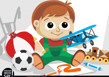 Small kid playing with toys - vector gratuit #180913