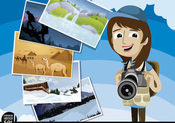 Photojournalist with pictures around the world - vector gratuit #180933