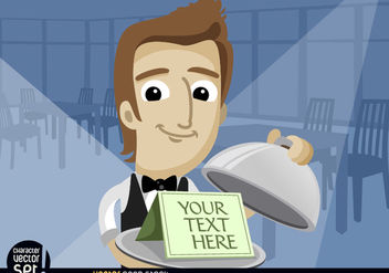 Waiter showing text in tray with lid - vector gratuit #180963