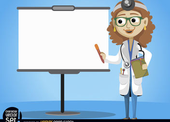 Female doctor with presentation screen - vector gratuit #180973