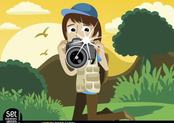 Photographer snapshot in landscape - vector gratuit #181013