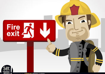 Fireman pointing fire exit sign - бесплатный vector #181033