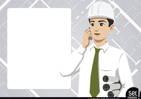 Engineer with message board and phone - vector gratuit #181043