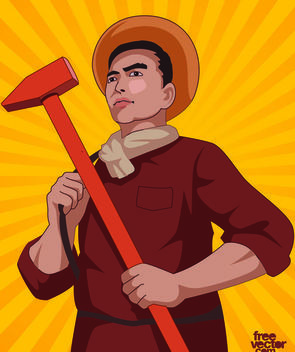 Day Laborer Cartoon with Hammer - Free vector #181073
