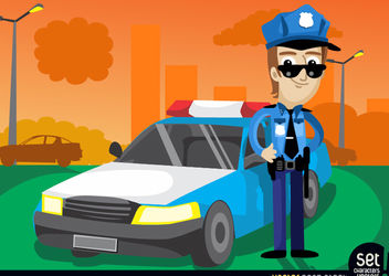 Policeman with his Cop Car - Free vector #181083