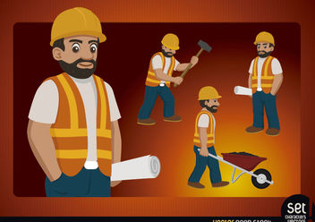 Construction worker character - Free vector #181123