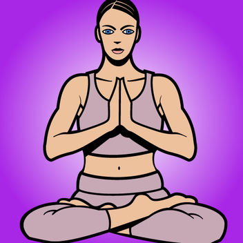 Women Cartoon Yoga Pose - Free vector #181133
