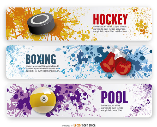 Boxing, Hockey and Pool grunge banners - vector gratuit #181173