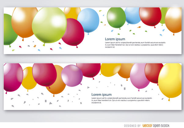 2 Party balloons banners - vector gratuit #181183