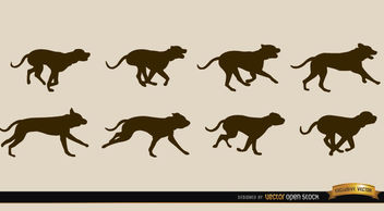 Dog motion sequence silhouettes - vector gratuit #181263