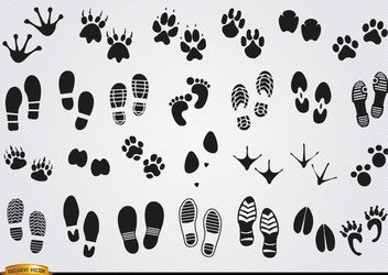 Footprints silhouettes of humans and animals - Free vector #181283