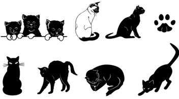 Black & White Silhouette Cat Set - Free vector #181293