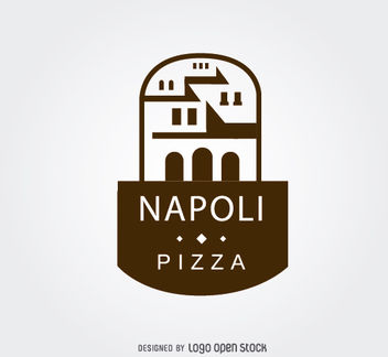 Ancient Building Pizza Restaurant Logo - vector gratuit #181363