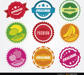 9 Quality circle seals - Free vector #181433