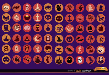 60 Halloween Icons - vector gratuit #181443