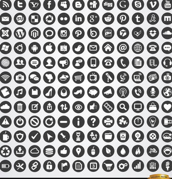 Multimedia social web circle icons set - vector #181453 gratis