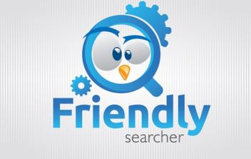 Funny bird Magnifying glass Logo - vector gratuit #181483