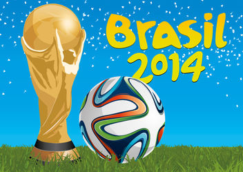 Brazil 2014 trophy and football - Free vector #181503