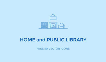 50 Liner Home Library Icons - vector #181553 gratis