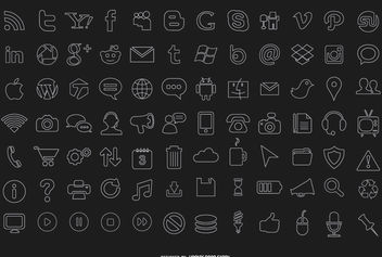 84 stroke computer icons - Free vector #181573