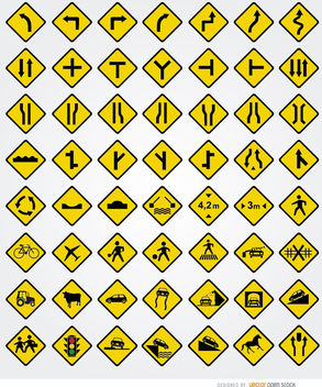 56 road signals set - vector gratuit #181583