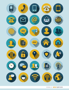 35 round communication icons - vector #181603 gratis