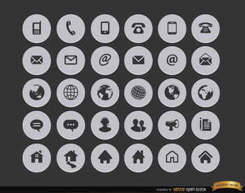30 Internet contact circle icons - vector gratuit #181633