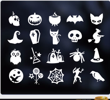 20 Halloween white flat icons set - vector #181653 gratis