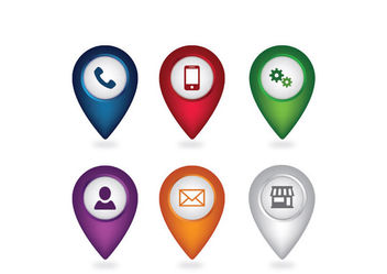 Simplistic Web Icon Pack with Location Pointer - Free vector #181703
