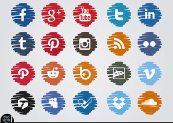 Social media distorted circle icons set - vector gratuit #181713