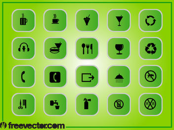 Green Square Flat Icon Pack - vector gratuit #181783
