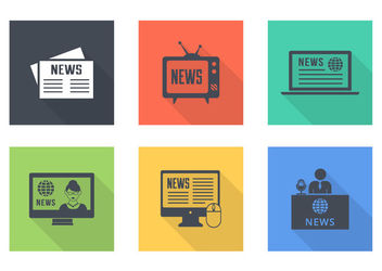 News Vintage Flat Icons Pack - vector #181833 gratis