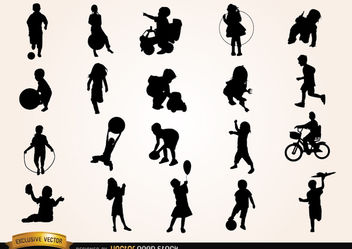Kids playing Silhouettes - бесплатный vector #181953