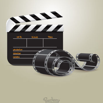 Clapperboard Filmstrip Cinema Equipments - vector gratuit #181963