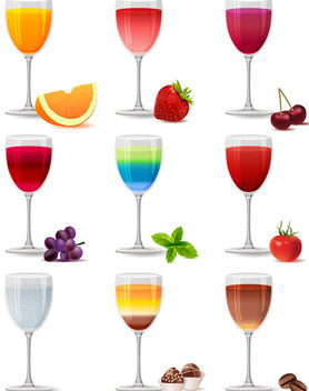 Glass of Juicy Drinks Pack - Free vector #182023