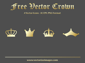 4 Golden Crowns in Flat Style - Free vector #182093