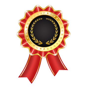 Glossy Award Badge with Ribbon - бесплатный vector #182113